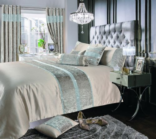 NATURAL SHIMMER DIAMANTE SPARKLE CRUSHED VELVET DUVET COVER LUXURY MODERN BEDDING RANGE